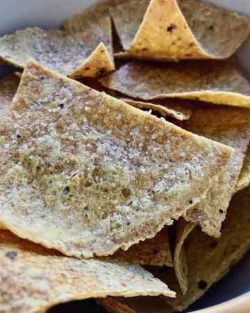 Baked corn tortilla chips.