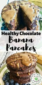 Pinterest image for healthy chocolate banana pancakes