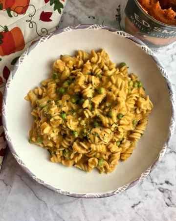 Plate of vegan pumpkin pasta