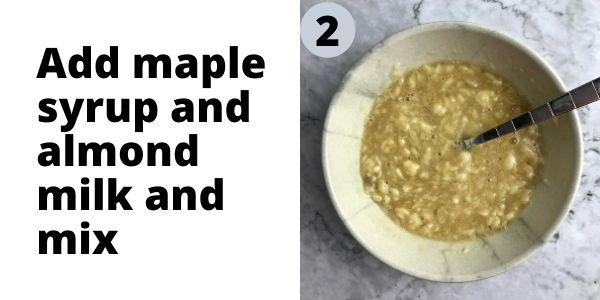 Mashed banana, maple syrup, and almond milk mixed in a bowl.