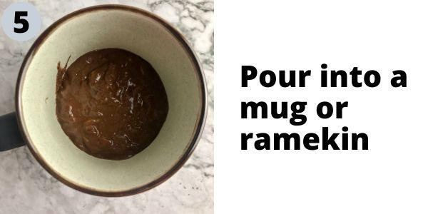 Banana mug cake batter in a mug.