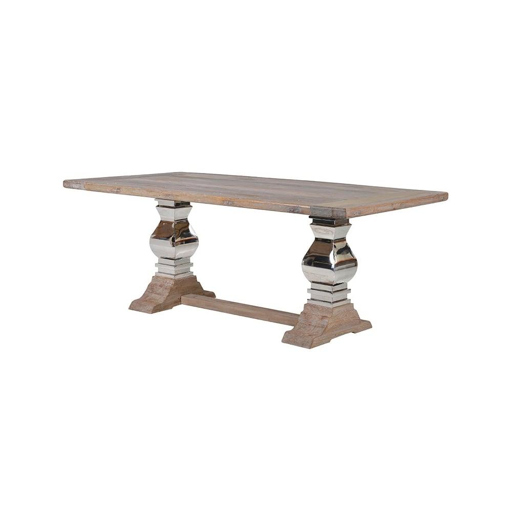 kensington reclaimed wood stainless steel refectory dining table