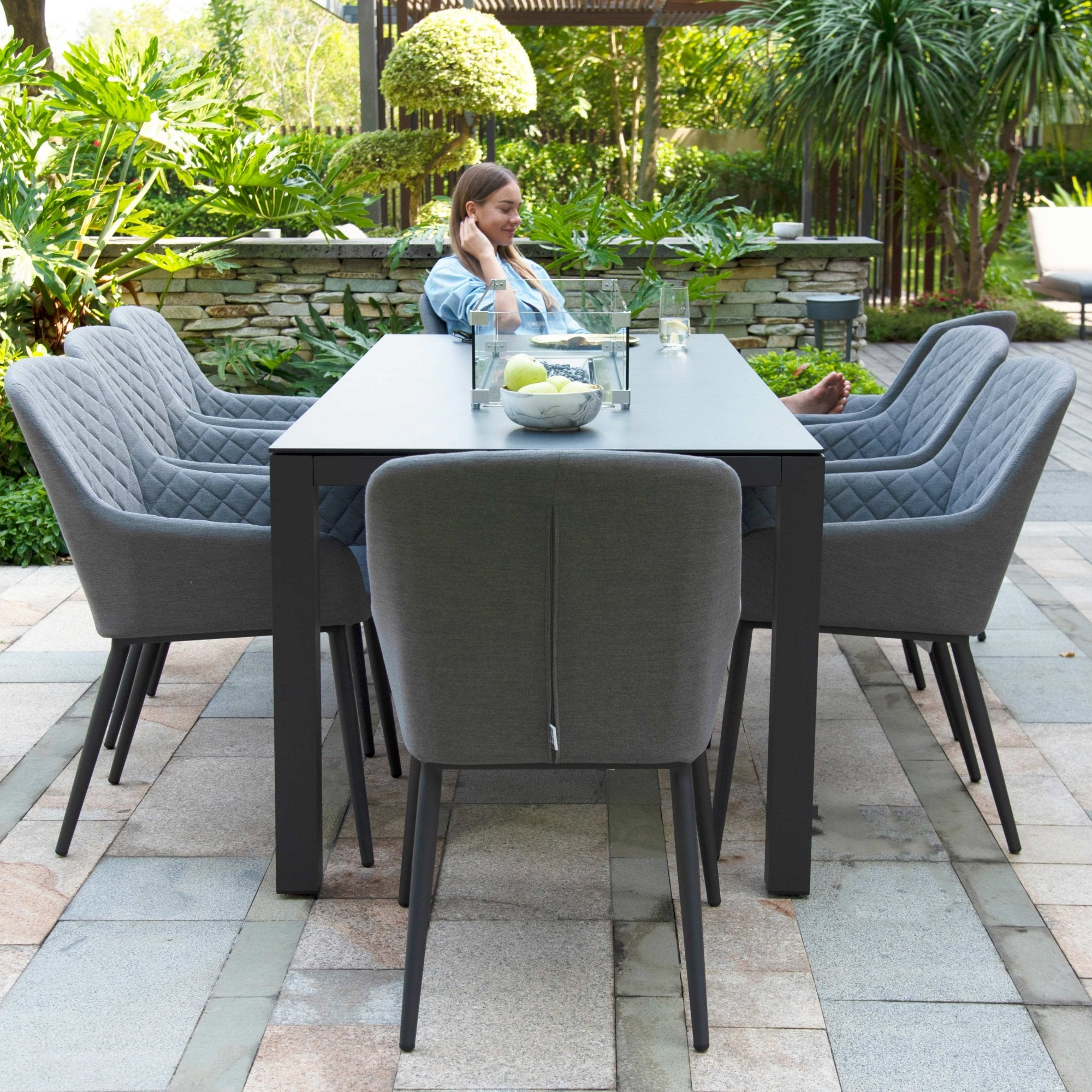 outdoor fabric zest 8 seat rectangular dining set with fire pit table flanelle