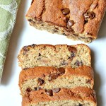 This Gluten Free Chocolate Chunk Banana Bread is loaded with ooey gooey chunks of chocolate and is extra tender and moist for a real treat.