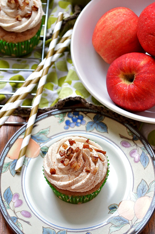 Enjoy cupcakes in all their Fall glory with these Gluten Free Apple Cinnamon Cupcakes with Maple Buttercream.