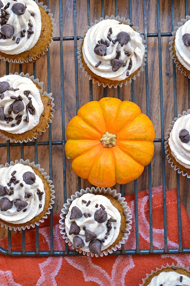 Whip up these Gluten Free Olive Oil Pumpkin Cupcakes with Cinnamon Maple Buttercream for a rich and decadent Thanksgiving dessert. The depth of flavor is surreal!