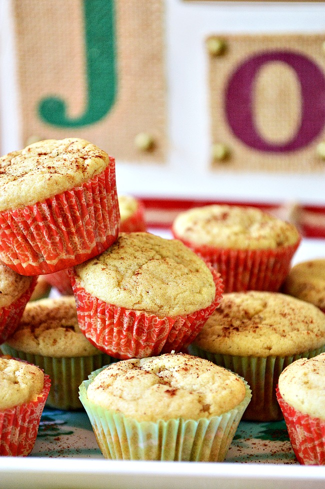 Get a blast of eggnog flavor with these one bowl, easy to whip up Gluten Free Mini Eggnog Muffins. The perfect winter snack.