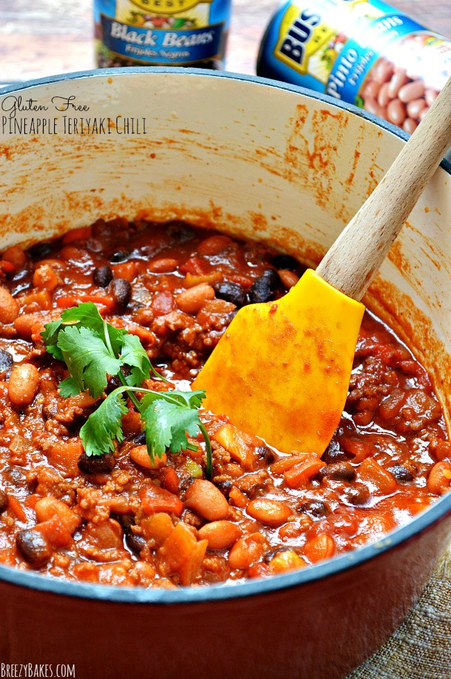 Try this Gluten Free Pineapple Teriyaki Chili for a new twist on your traditional chili recipe. It's got all the flavors of a good old grilled pineapple teriyaki burger all in a bowl full of chili. Top it with a dollop of cilantro lime sour cream for added flavor.