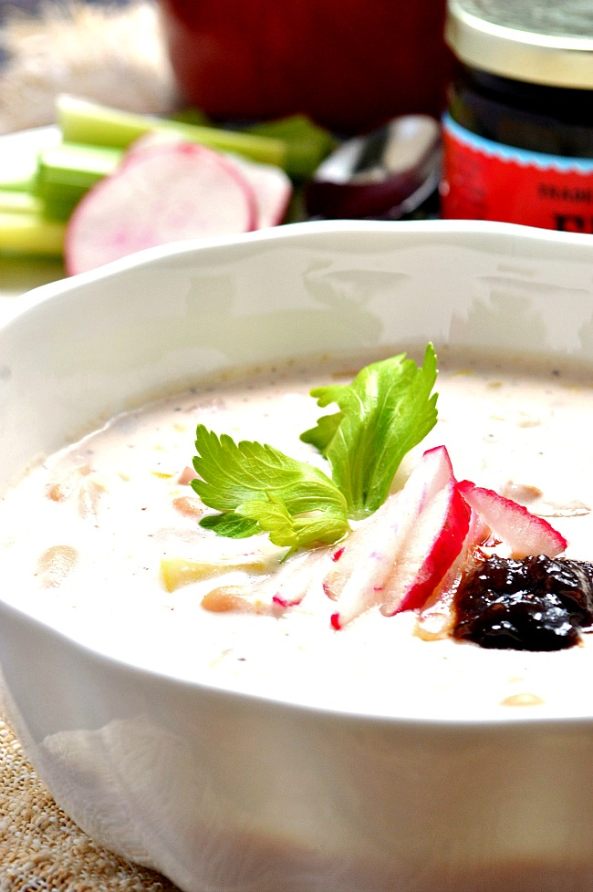 Throw together this super fancy and ultra sexy Gluten Free Radish and Celery Cream Soup with Fig Butter for a quick weeknight meal that will leave you feeling like you've just eaten at a five star restaurant!