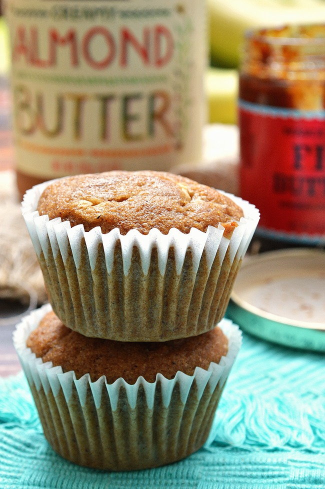 For a sweet breakfast or snack on the go, make these Gluten Free Almond and Fig Butter Filled Banana Muffins. They are packed with whole grains and low in sugar for a guilt free treat.