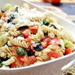Gluten Free Cucumber and Feta Spinach Pasta Salad