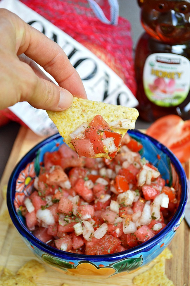 Don't end this summer without making this light and refreshing Watermelon Pico de Gallo. It's fresh, healthy, crisp, and cool!