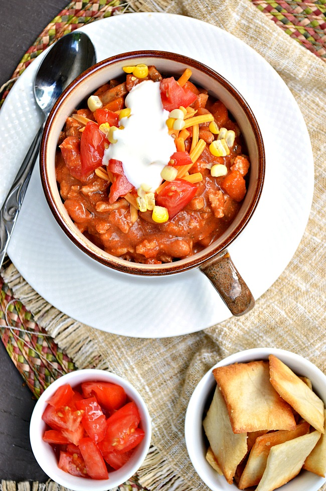 So much flavor packed into this Gluten Free Ranch Style Chili. Your baked potatoes will be screaming for its accompaniment.