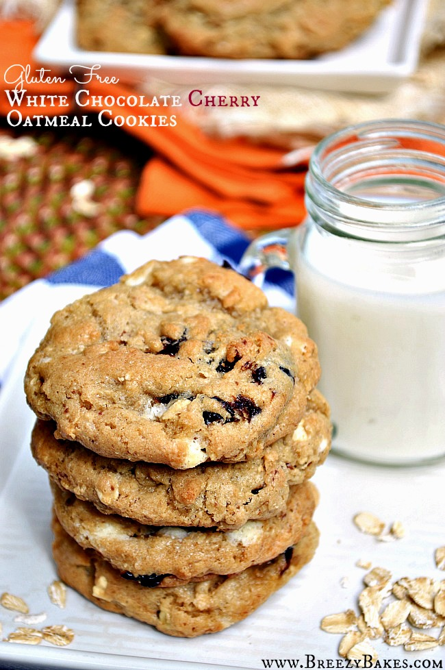 Try a twist on the original oatmeal raisin cookie and transform it into these Gluten Free Cherry White Chocolate Oatmeal Cookies. They're sweet and chewy with a little bit of tang.