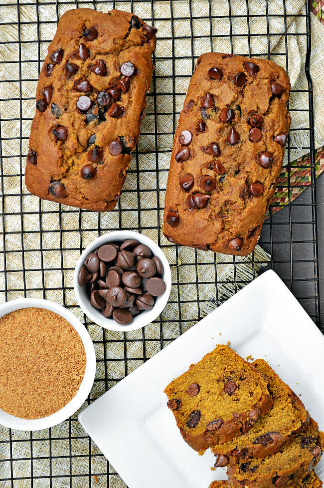 Can it really be that this Gluten Free Healthy Chocolate Chip Pumpkin Bread is healthy??? Well, besides the dark chocolate chips, there ain't an ounce of refined sugar. Eat all you want!