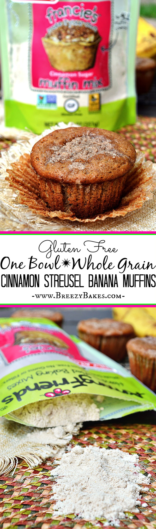 For a quick, no fuss one bowl muffin mix, try these Gluten Free Among Friends Cinnamon Banana Muffins. They are whole grain and contain no gums or fillers, which makes eating them that much more enjoyable!