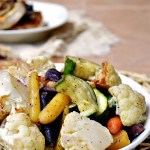 Simply Roasted Cauliflower and Rainbow Carrots