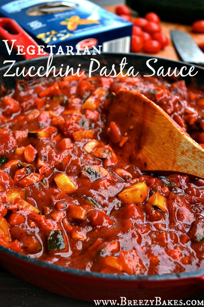 You won't miss out on any flavor (or preservatives) when making this bold and robust Gluten Free Vegetarian Zucchini Pasta Sauce. This sauce is healthy and loaded with flavor for the perfect weeknight dinner.