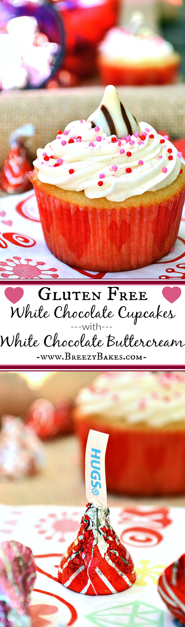 Celebrate the day of love...or any other day for that matter...with these sensationally sweet and tasty Gluten Free White Chocolate Cupcakes with White Chocolate Buttercream. And plus, sprinkles make every kid happy.
