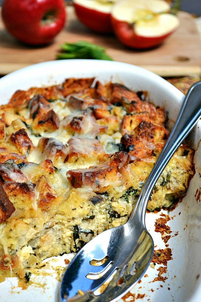 No need to wait for Thanksgiving to dish up this ultra savory Gluten Free Rosemary Apple Cheesy Bread Casserole. Toasty and crispy on the top while moist and cheesy in the middle. It's the perfect marriage.