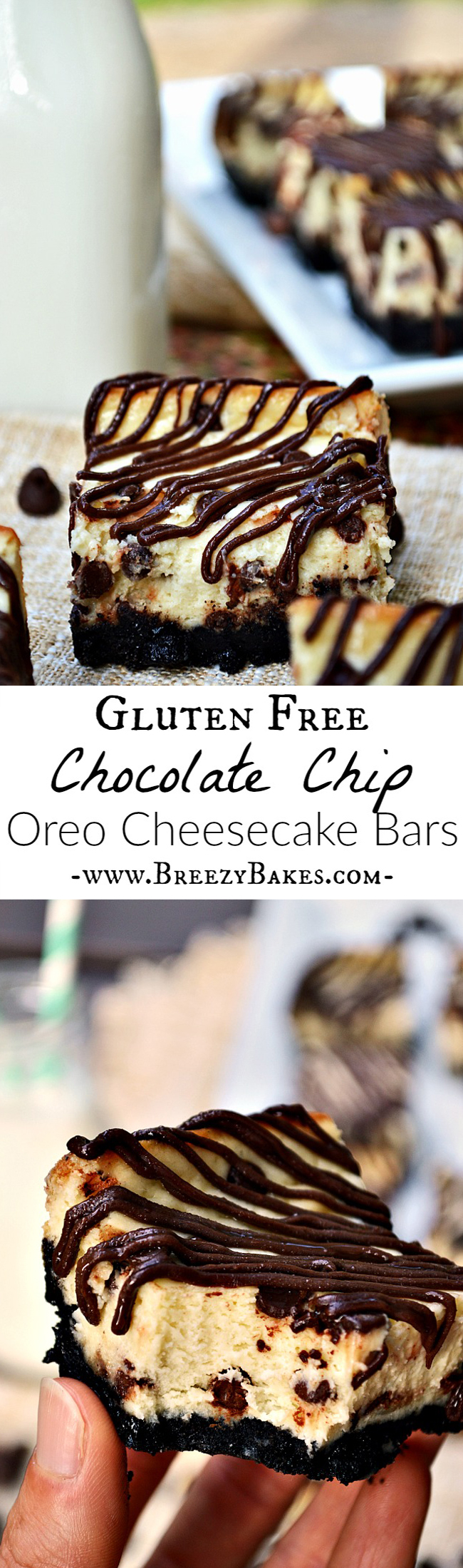 These Gluten Free Chocolate Chip Oreo Cheesecake Bars take minimal effort to bake, but pack maximum amounts of flavor! Go for an easy, yet tasty dessert with these creamy cheesecake bars.