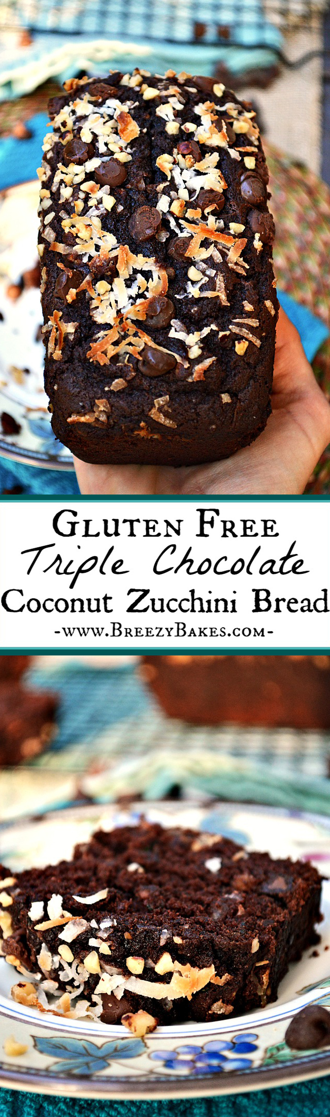 It's quite a stretch to call this dessert-like quick bread a breakfast item, but whether you eat it morning, noon, or night this Gluten Free Chocolate Coconut Zucchini Bread is fudgy, moist, decadent, and downright delicious!
