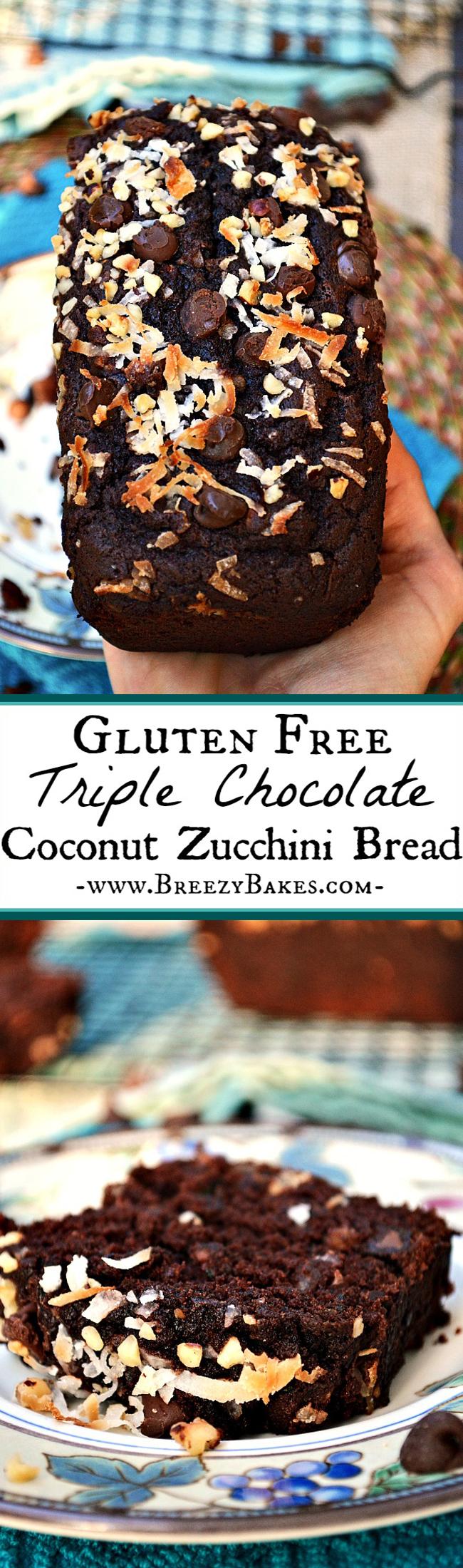 Gluten Free Chocolate Coconut Zucchini Bread - Breezy Bakes
