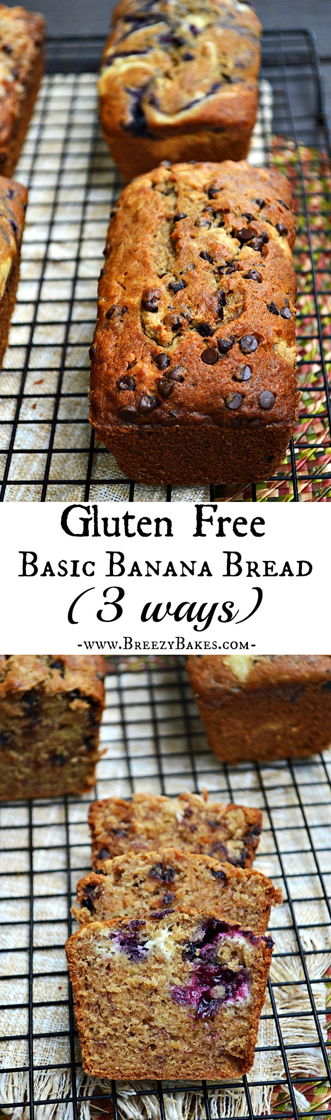 Bake up your favorite flavor of banana bread with this easily adaptable Gluten Free Basic Banana Bread: Three Ways recipe. Make up your own mix-in variation or choose from Berry Cheesecake, Peanut Butter Cup, and Samoa.