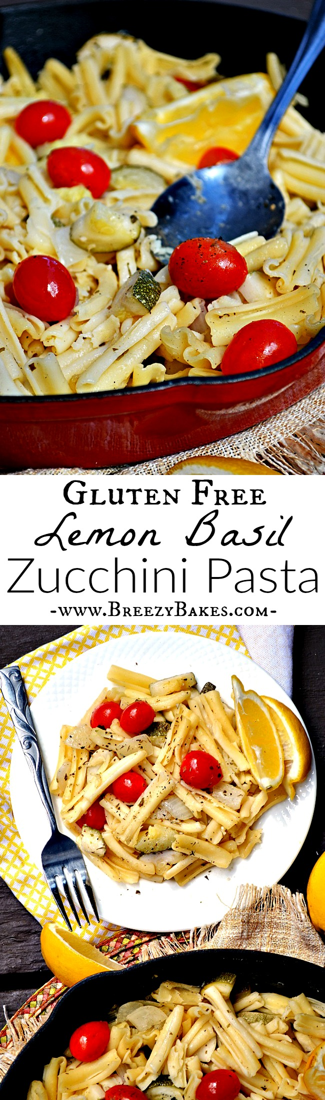 It's two thumbs up for this simply effortless 30 minute vegetarianGluten Free Lemon Basil Zucchini Pasta dinner! It's light and flavorful with all the freshness of spring.