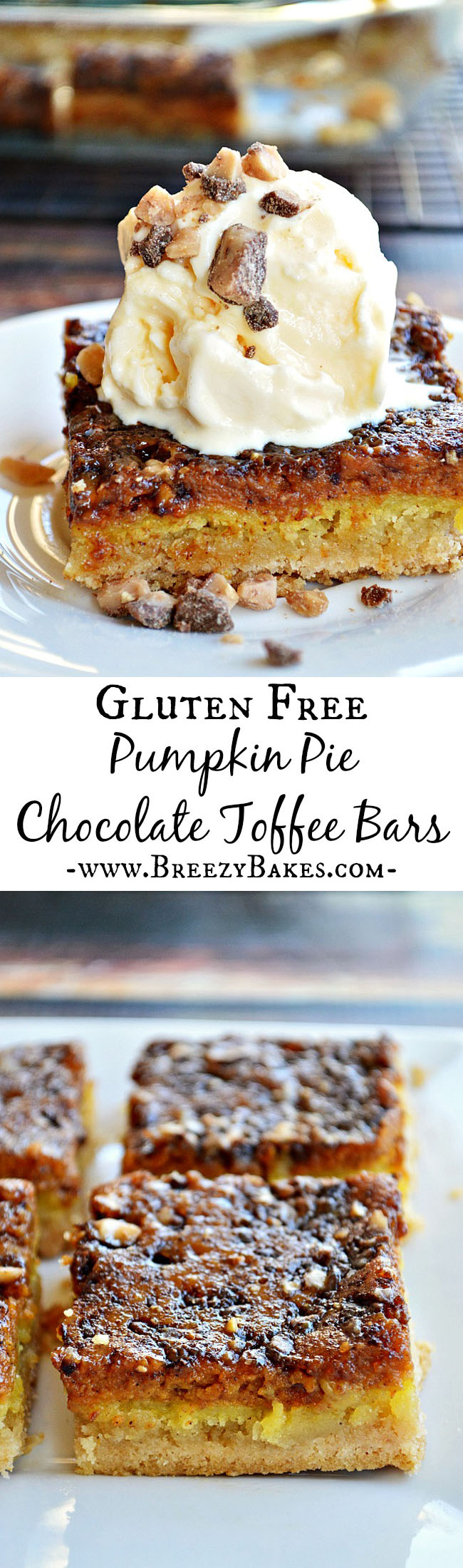 These Gluten Free Pumpkin Pie Toffee Bars are the perfect substitution for traditional pumpkinpie. Layers of cakey shortbread, a smooth pumpkin filling, and a sprinkle of Heath toffee bits make for a yummy fall treat!