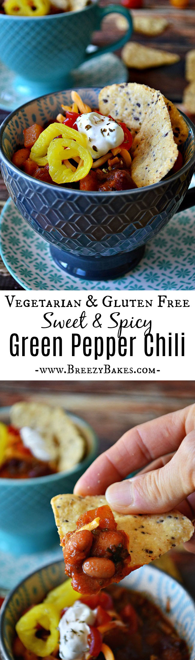 This Vegetarian Sweet Green Pepper Chili has a fiery blend of green peppers and a sweet undertone of brown sugar with loads of veggies!
