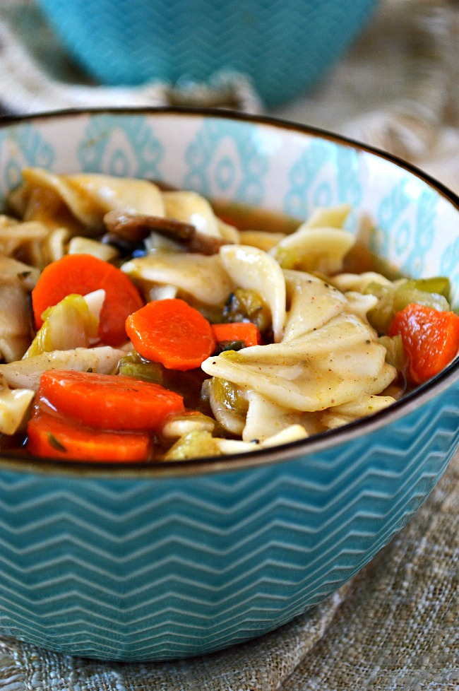 Warm up to a bowl of this healthy vegetarian Gluten Free Chickenless Chicken Noodle Soup. It has all the flavor chicken noodle soup but without the chicken.