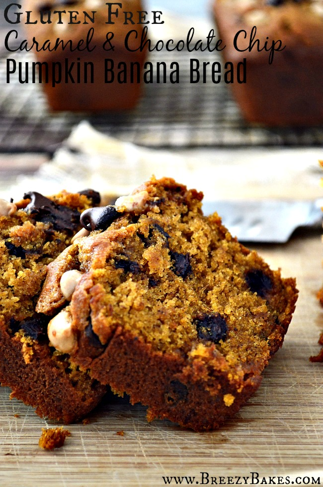 Gluten Free Pumpkin Banana Bread with salted caramel and chocolate chips sprinkled throughout. A soft, tender, and moist fall treat.
