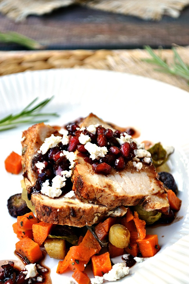 It doesn't get much fancier than Rosemary Pork Tenderloin with Pomegranate Sauce for dinner. Plate it with some roasted veggies and caramelized pears for an upscale dining experience!