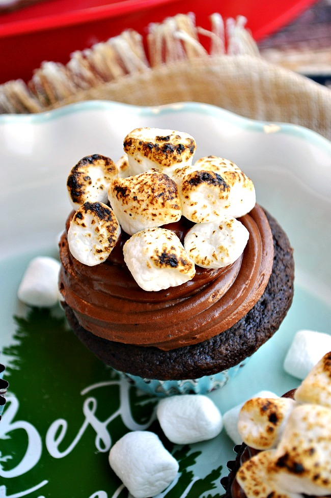 Who needs a cup of hot chocolate when you can chow down on a batch of Gluten Free Hot Cocoa Cupcakes?!Light and fluffy chocolate cupcakes topped with smooth milk chocolate frosting and topped with toasted mini marshmallows. I'm gonna be looking for these on our next Polar Express!