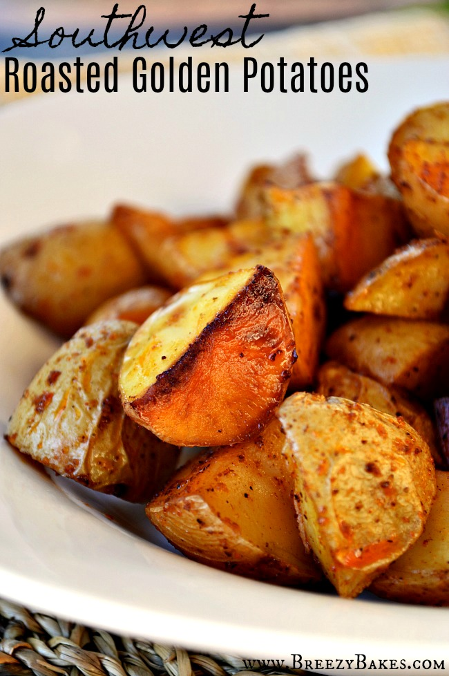 These crispy on the outside, creamy and tender on the insideRoasted Southwest Golden Creamer Potatoes are the perfect side dish; seasoned with chili powder and smoked paprika for a smokey, subtly spicy nugget of goodness.