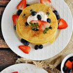 Calling all cornbread lovers! These Gluten Free Blueberry Buttermilk Cornmeal Pancakes are the perfect hybrid between fluffy buttermilk pancakes and sweet cornmeal muffins. You'll love this topped with some plain Greek yogurt and a drizzle of honey or pure maple syrup.