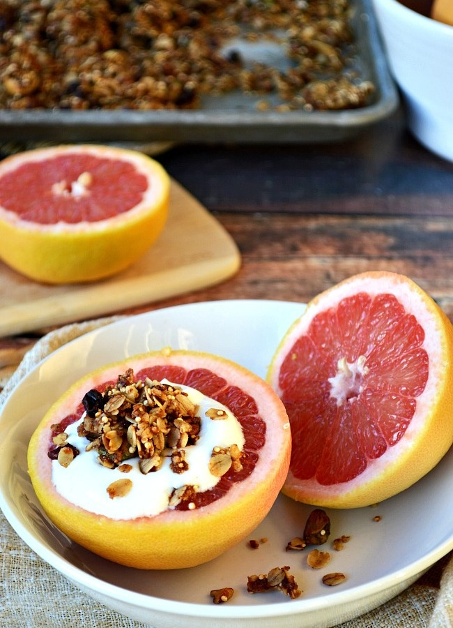 Rise and shine with this simply delicious Gluten Free Granola and Yogurt Grapefruit Breakfast! Wait, did I say breakfast??? Try it for a snack or healthy dessert as well. It's a perfectly sweet and tart pick me up for any time of day.