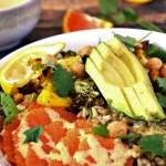 Roasted Curry Veggie Salad with Tahini Dressing