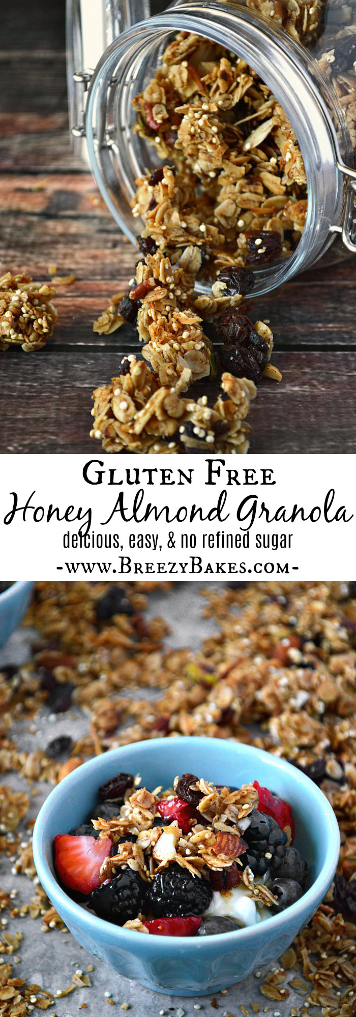 Gluten free honey almond granola breezy bakes this gluten free honey almond granola wont last long youll want ccuart Choice Image