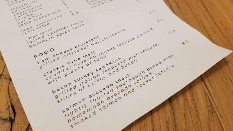 Erix Coffee menukaart bregblogt.nl