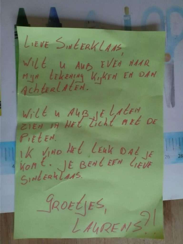 Brief Sinterklaas Laurens bregblogt.nl