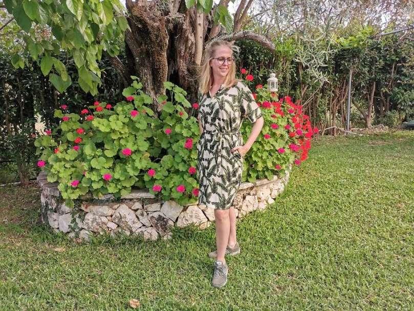 zomerse jurk Hema groene bladerenprint bregblogt.nl