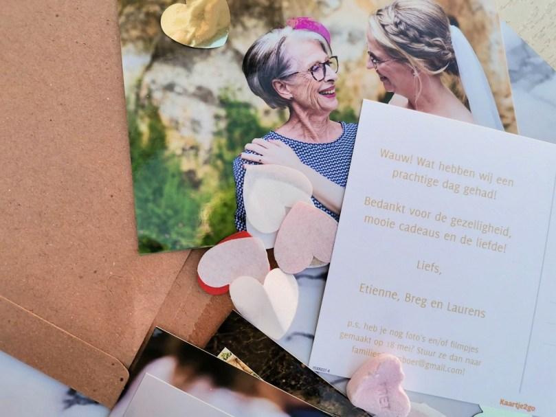 Bedankkaartje bruiloft persoonlijke herinnering bregblogt.nl