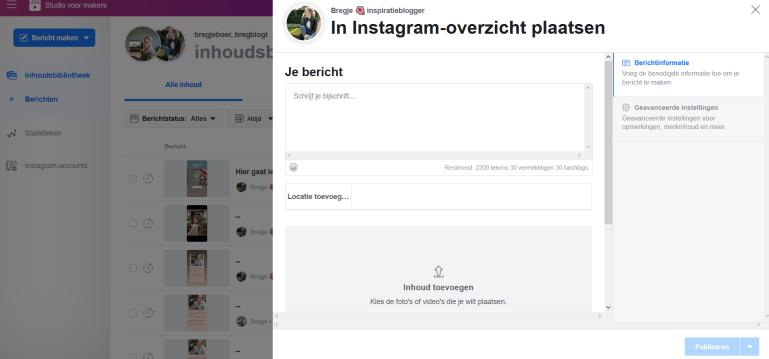 tool instagram inplannen Facebook