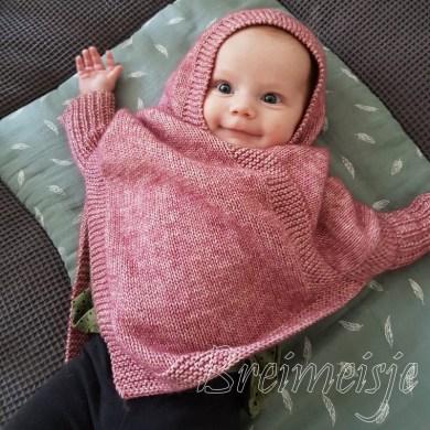 Babyponcho breien patroon maat 56-62