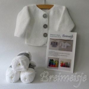 Breimeisje breipakket babyjasje ribbels maat 50-56 cotton fun