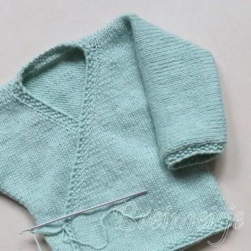 Babytruitje breien rand gerstekorrel