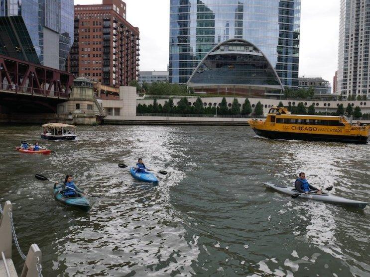 Kanuten vs Wassertaxis und Ausflugsboote: Auf dem Chicago River herrscht immer reger Verkehr. Bild: Geiselhart
