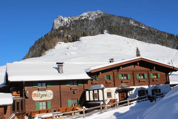 An der Ritzau Alm war der Gipfel erstmals zu sehen